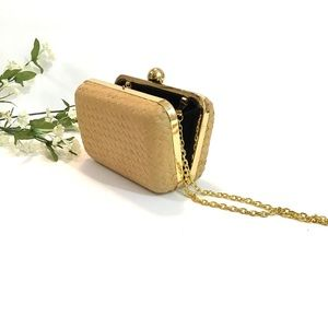 🐘 Straw Clasp Clutch Gold Chain Strap